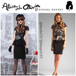 "Alice & Olivia ""Robyn"" Lace Peplum Dress 2"